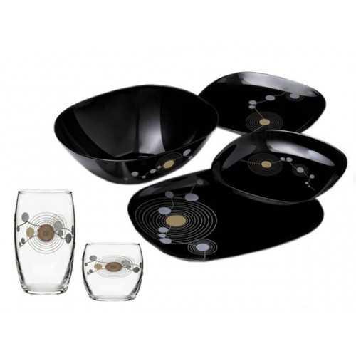 Luminarc Sequins Black Arcopal Dinner Set 50 Pieces P1727