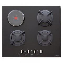 Dominox Built-In Hob 60 cm 3 Gas +1 Electric 60 cm Black Glass DHG 604 3G 1E BK F C FEN