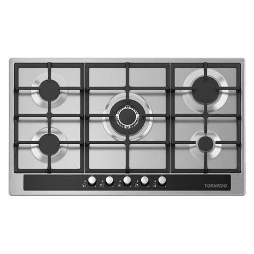 TORNADO Built-In Hob 90 x 60 cm 5 Gas Burners In Stainless GHV-M90CSU-BK