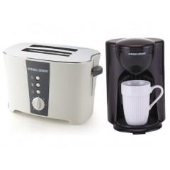 بلاك & ديكر توستر ثنائي لتحميص الخبز بقوة 800 وات و صانع قهوة امريكية بسعة فنجان واحد ET122