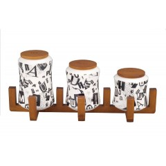 Oxford Ceramic Round Spice Set 3 pieces With Stand A6