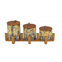 Oxford Ceramic Round Spice Set 3 pieces With Stand A6-2