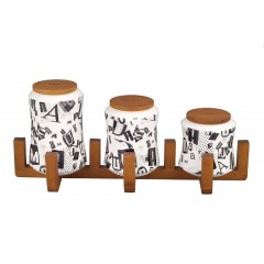 Oxford Ceramic Round Spice Set 3 pieces With Stand A6-1