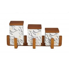 Oxford Ceramic square Spice Set 3 pieces With Stand A8