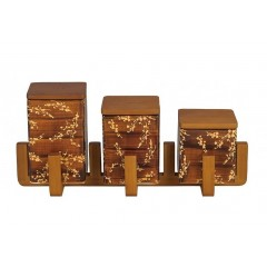 Oxford Ceramic square Spice Set 3 pieces With Stand A8-1