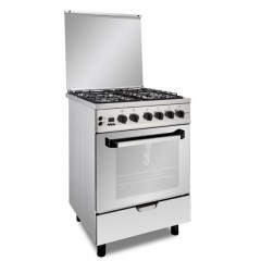 Fresh Gas Cooker 4 Burners 60x60 cm Safety With Fan Stainless: Plaza 60*60