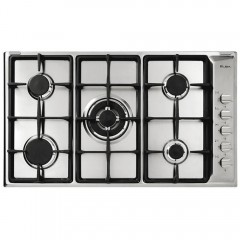 Elba Gas Hob 90 cm 5 Burners Cast Iron Safety Stainless E95-545X