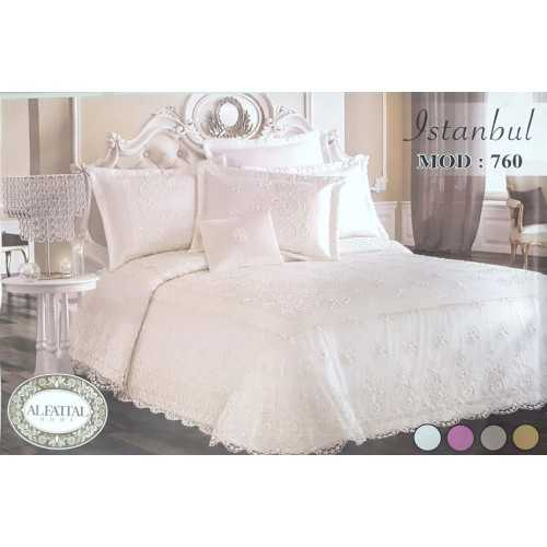 Elfattal Istanbul Embroidered THREAD Bedcover Set Satin 4 Pieces F-760