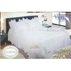 ELFATTAL Venus Embroidered Bedcover Set Satin With Organza Edges 4 Pieces F-915