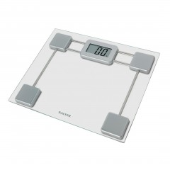 Salter Toughened Glass Compact Digital Bathroom Scales Silver Up to 180 KG S-9128BK3R