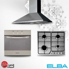 Elba Built-In Hob 60 cm 4 Gas Burners and Gas oven 60 cm and Chimney Hood 60 cm 550 m3/h E-510-721XF Bundle