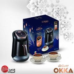 أرزوم أوكا مينيو ماكينة صنع القهوة التركية اسود*ذهبي مع هدية OK 004-RA