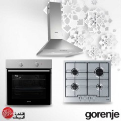 Gorenje Built-In Hob 60 cm 4 Gas Burners and Electric Oven with Grill and Chimney Hood 60 cm 505 m3/h BO615E01XK Bundle