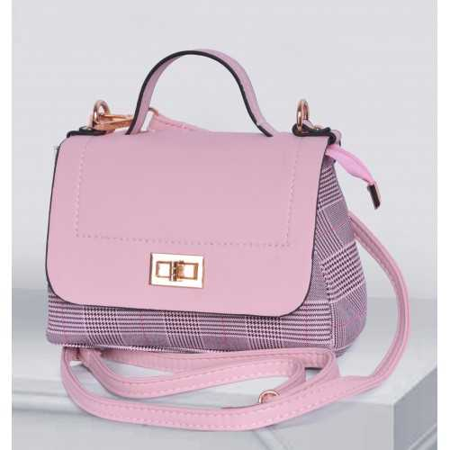 ART Mini Satchel PU Leather Pink and Chequer Color APC-1405
