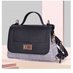 ART Mini Satchel PU Leather Black and Chequer Color ABC-1405