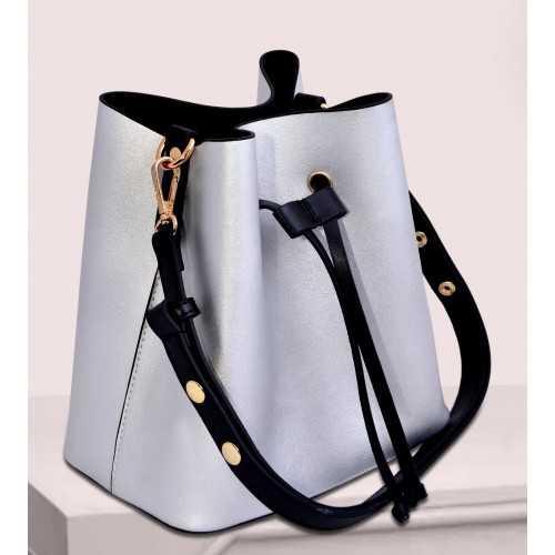 ART Shoulder Bag PU Leather Silver Bright ASS-1415