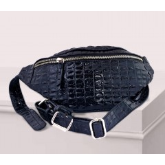 ART Waist Bag PU Leather Front Zipper Bright Black Color AWB-1416