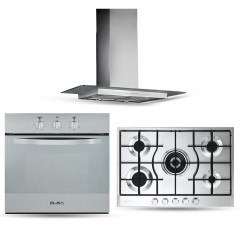 Elba Flat Glass Hood 60cm 550 m3/h and Gas Hob 75 cm 5 Burners and Electric Multifunction Oven 60 cm ELIO 75-545 L Bundle2