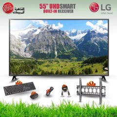 إل جي شاشة 55 بوصة إل إي دي ألترا اتش دي سمارت ويب أو إس برسيفر داخلي فور كاي TV 55UK630V