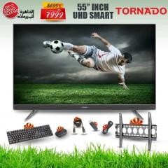 TORNADO 4K Smart LED TV 55 Inch With Built-In Receiver, 3 HDMI and 2 USB Inputs and Gifts 55US9500E
