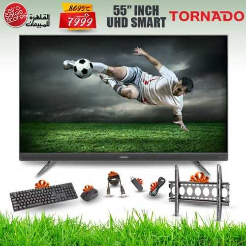 TORNADO 4K Smart LED TV 55 Inch With Built-In Receiver, 3 HDMI and 2 USB Inputs 55US9500E