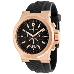 MICHAEL KORS Men's Black and Rose Goldtone Dylan Watch Silicone MK8184