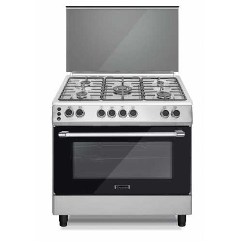 Ecomatic Cooker 90x60 cm 5 Burners Cast Iron Safety Stainless FS9204M