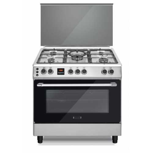 Ecomatic Cooker 90x60 cm 5 Burners Cast Iron Safety Digital Stainless FS9204DC