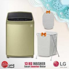 LG Washing Machine Topload 13 KG Inverter Motor Gold T1366NEFTV