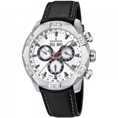 Candino Men's Chronograph Quartz Watch Leather Black Band Silver Dial C4476/1