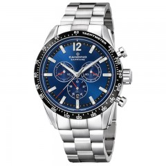 Candino Men's Chronograph Quartz Watch Stainless Steel Silver Band With Blue Dial C4682/2