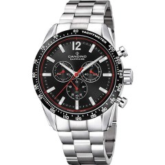 Candino Men's Chronograph Quartz Watch Stainless Steel Silver Band With Black Dial C4682/4