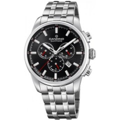 Candino Men's Chronograph Quartz Watch Stainless Steel Silver Band With Black Dial C4698/4