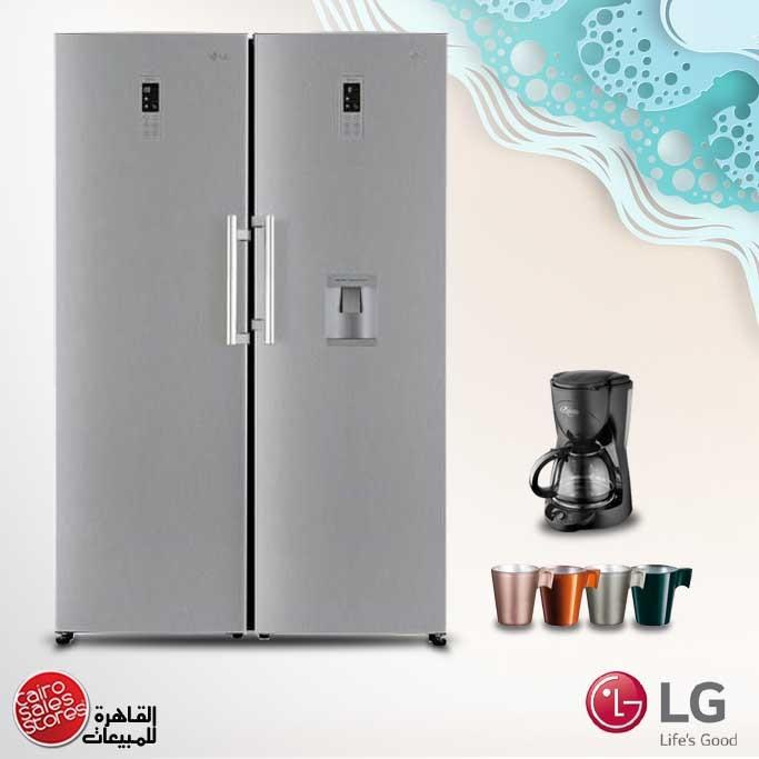 LG Fridge & Freezer No Frost Twins Stainless GR-F401ELDZ- GR