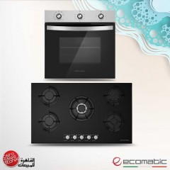 Ecomatic Built-In Crystal Hob 90 cm 5 Gas Burners and Gas Oven 60cm With Grill & Fan S907ALS