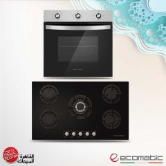 Ecomatic Built-In Crystal Hob 90cm 5 Gas Burners and Gas Oven 90cm With Grill and 2 Fans S907ALC