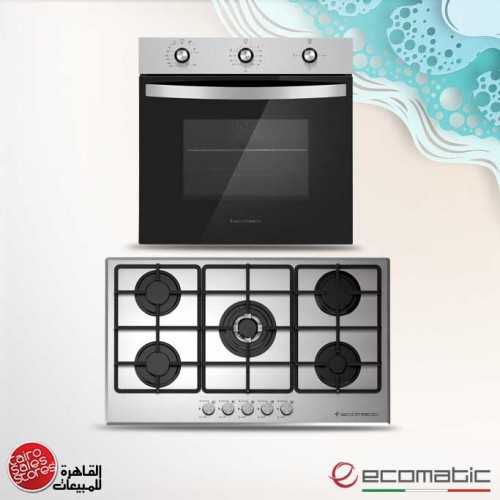 Ecomatic Built-In Hob 90 cm 5 Gas Burners Frontal Control Stainless S9003M