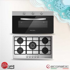 Ecomatic Built-In Hob 90 cm 5 Gas Burners and Gas Oven 90cm With Grill and 2 Fans S9003M