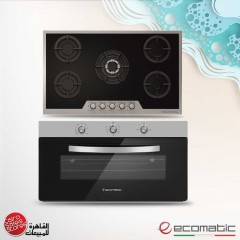 Ecomatic Built-In Crystal Gas Hob 90 cm and Gas Oven 90cm With Grill and 2 Fans S907IGC
