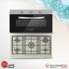 Ecomatic Built-In Hob 92cm 5 Gas Burners and Gas Oven 90cm With Grill and 2 Fans G9104T