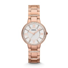 FOSSIL Virginia Gold Stainless Steel Ladies Watch Silver Dial ES3284