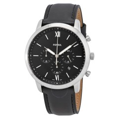 FOSSIL Neutra Chronograph Black Leather Band With Silver Frame Men's Watch FS5452