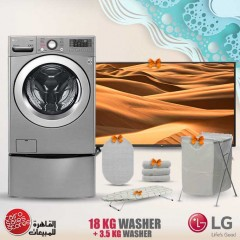 LG TwinWash 18Kg With Dryer 10Kg Steam 1100 rpm Stainless + 3.5kg Lower TwinWash and Gifts FT022K2SS