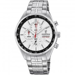 FESTINA Men's Cronoghraph Stainless steel Silver Band With Silver-Black Dial F6863/2