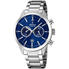 FESTINA Women's Cronoghraph Silver Watch Stainless Steel Blue Dial F16826/B