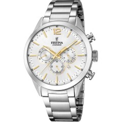FESTINA Men's Cronoghraph Silver Watch Stainless Steel Silver Dial With Golg Enamle F16826/D