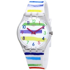 SWATCH Women's Watch Silicone White -Multicolor Band GE254