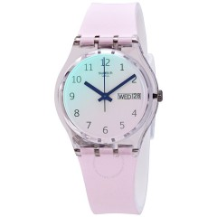 SWATCH Unisex Watch Silicone White Band GE714