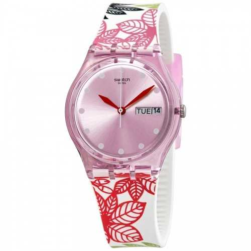 SWATCH Summer Leaves Pink Dial Women's Watch Analoge Silicone GP702