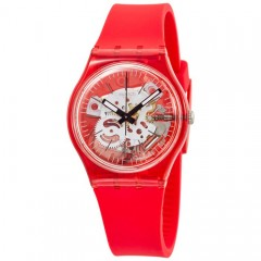 SWATCH Women's Red Band With Watch Analoge Silicone GR178